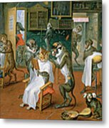 Barbers Shop With Monkeys And Cats Oil On Copper Metal Print