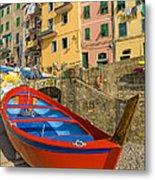 Barca Rossa A Rio Maggiore Metal Print