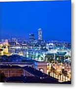 Barcelona And Its Skyline At Night Metal Print