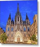 Barcelona Cathedral At Night Metal Print