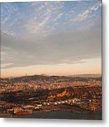 Barcelona On Sunrise. Aerial View Metal Print