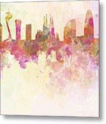 Barcelona Skyline In Watercolour Background  Metal Print