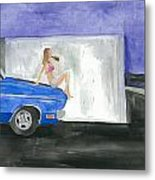 barefoot girl sittin' on the hood of a Dodge Metal Print