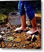 Barefoot In The Creek Metal Print