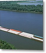 Barge In A River, Mississippi River Metal Print