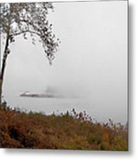 Barge In Fog On Ohio River Metal Print