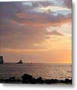 Barge Into The Sunset Metal Print