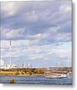 Barges On River Rhine At Duisburg Germany Europe Metal Print