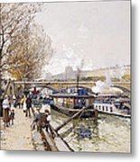Barges On The Seine Metal Print by Eugene Galien-Laloue