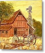 Barn  -  Windmill  -  Old Rake Metal Print by Kenneth  LePoidevin