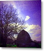 Barn And Oak Digital Painting Metal Print