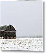 Barn And Snow Metal Print
