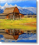 Barn And Teton Reflections. Metal Print