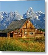 1m9394-barn And The Tetons Metal Print