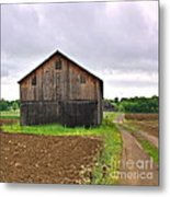 Barn By The Road Square Metal Print