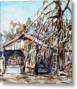 Barn By The Tree Metal Print