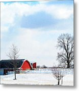 Barn Covered With Snow Metal Print by Tina M Wenger
