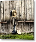 Barn Door And Banjo Mandolin Metal Print by Bill Cannon