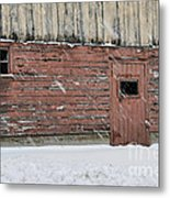 Barn Door In Winter Metal Print