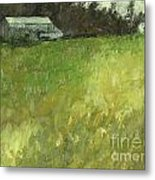 Barn Fence And Field Metal Print