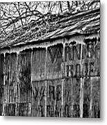 Barn Ghost Sign In Bw Metal Print