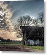 Barn In A Field With A Horse Metal Print