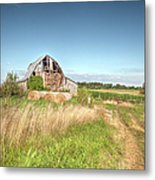 Barn In A Field With Hay Bales Metal Print