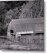 Barn In Black And White Metal Print by Edward Hamilton