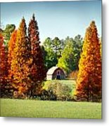 Barn In Fall Metal Print