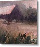 Barn In The Fog Metal Print