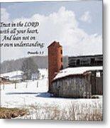 Barn In Winter With Scripture Metal Print