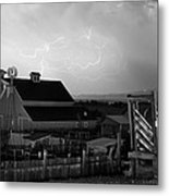 Barn On The Farm And Lightning Thunderstorm Bw Metal Print by James BO  Insogna