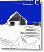 Barn Snow Storm Rc Guss Photo 1951 Collage St. Paul Park Minnesota Color Drawing Added Metal Print