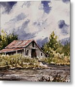 Barn Under Puffy Clouds Metal Print