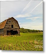 Barn On The Field Metal Print