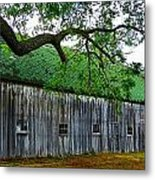 Barn With Brick Silo Metal Print by Julie Dant