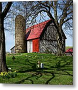 Barn With Silo In Springtime Metal Print