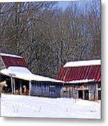 Barns And Horses In Winter Metal Print