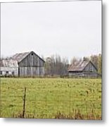 Barns In The Mist Metal Print