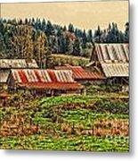 Barns On A Farm Metal Print