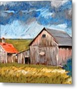 Barns On Maple Street Metal Print