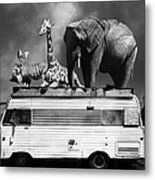 Barnum And Bailey Goes On A Road Trip 5d22705 Vertical Black And White Metal Print