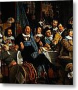 Bartholomeus Van Der Helst Banquet Of The Amsterdam Civic Guard In Celebration Of The Peace Of Munst Metal Print