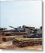 Base Camp Artillery Guns Self-propelled Howitzer M109 Camp Enari Central Highlands Vietnam 1969 Metal Print