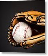 Baseball And Glove Metal Print by Joe Belanger