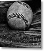 Baseball Broken In Black And White Metal Print by Paul Ward