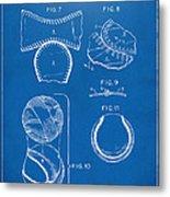 Baseball Construction Patent 2 - Blueprint Metal Print