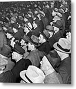 Baseball Fans At Yankee Stadium For The Third Game Of The World Metal Print