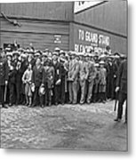 Baseball Fans Waiting In Line To Buy World Series Tickets. Metal Print
