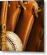 Baseball Glove And Baseball Metal Print
